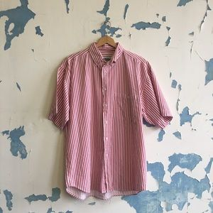 Vintage | Men's 80's Pink Striped Button Down Top